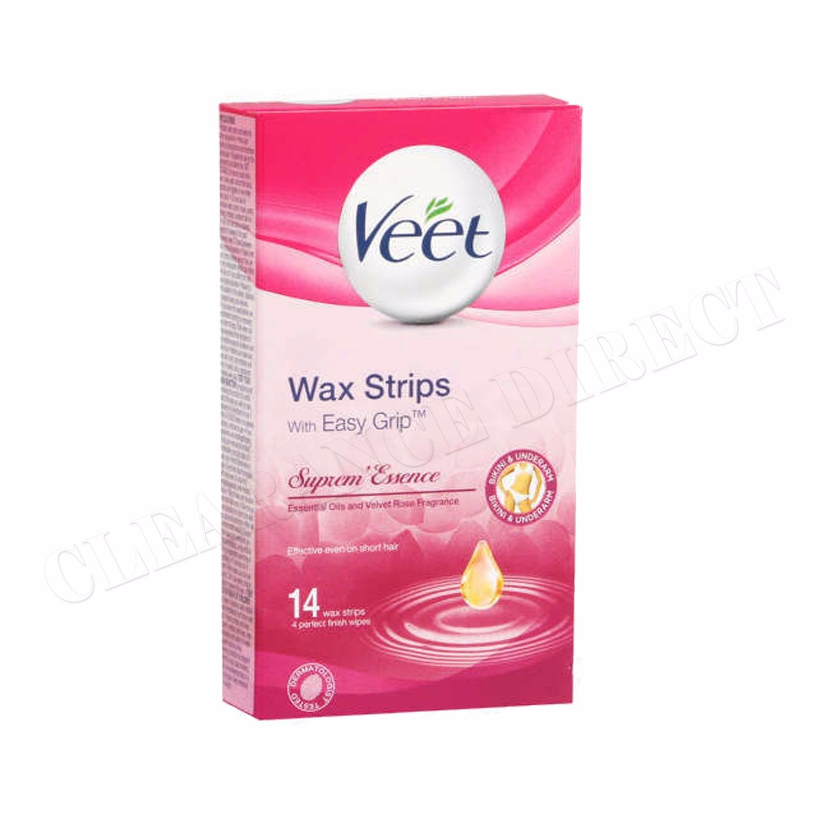 Veet EasyGrip Ready To Use 14 Wax Strips Upper Lip